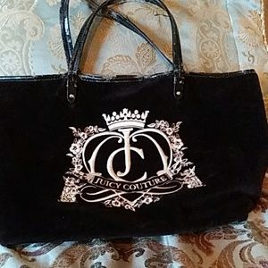 Black velour Juicy Couture over sized tote